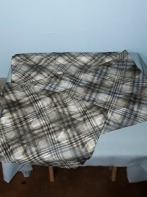 Vintage Scarf Plaid Brown Gold Black Tan 12 x 59