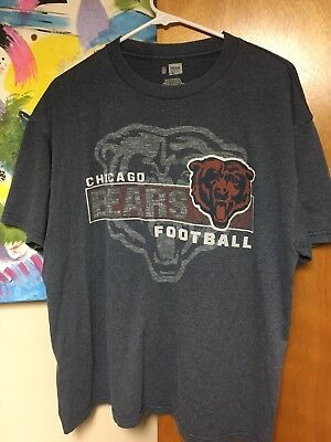 Chicago Bears NFL Team Apparel T-shirt Gray Large 50/50 Cotton Poly Big Logo EUC