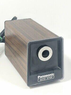 Vintage Panasonic Kp-77 Auto Stop Electric Pencil Sharpener Wood Grain Japan