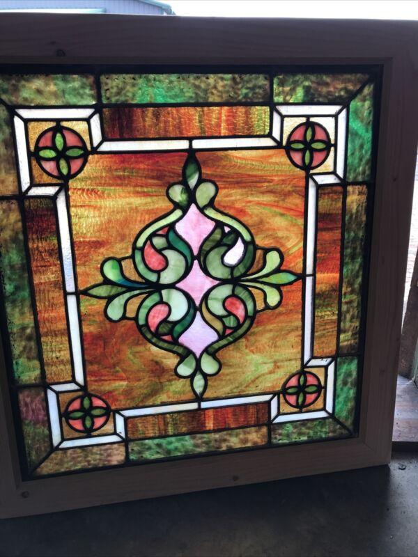 SG3539 Antique Stained Glass Landing Window 31 X 33 Zinc