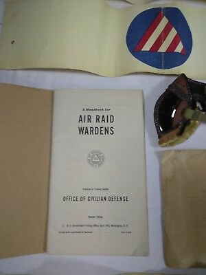 WWII US Civil Defense Air Raid Warden Goggles, 4 Armbands, Manual, Decal