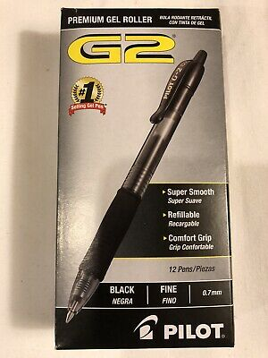Pilot G2 0.7mm Roller Ball Retractable Gel Pen Black - 12 Pack Ink Pen