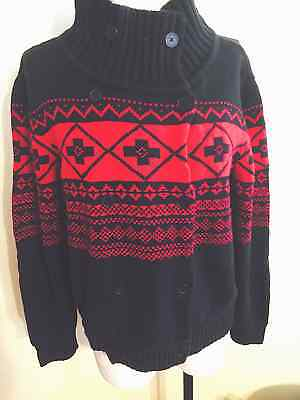 American Living Cardigan Sweater Nordic Christmas Holiday Black Red Size Xl