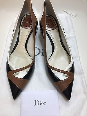 💯New Christian DIOR Multi-color Leather Block Heel Classic Almond Toe US 8 (38)