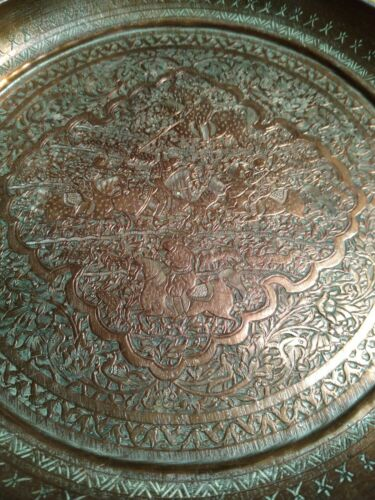 2 PERSIAN ANTIQUE Copper 9 HUNTING Engraved Copper Tin Plates Fine Etching  - $29.00