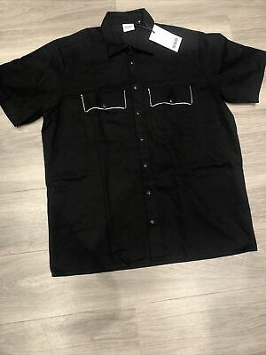 SSS World Corp Black Short Sleeve Bowling Shirt XXL - NEW W TAGS