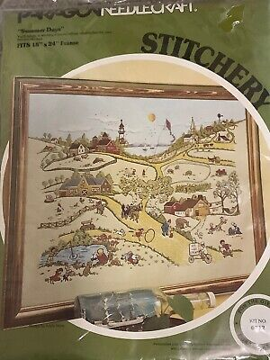 Paragon Needlecraft Summer Days Crewel Stitchery Kit 0712 Vintage 1978 Sealed Paragon Wall Decor
