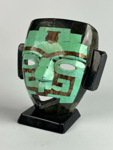 Mexican Art Aztec Mayan Burial Death Mask Turquoise Onyx Tigers Eye