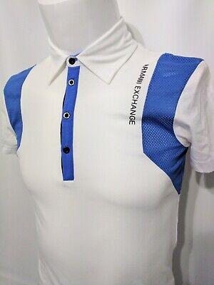 Armani Exchange White Blue Jersey Vent Short Sleeve Shirt Mens Size XS