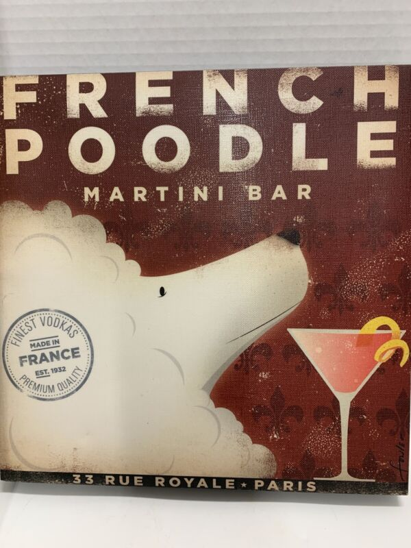 """French Poodle Martini Bar Stretched Canvas Print Brewery Dogs 12""""x 12"""" Square"""