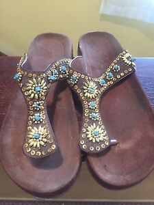 Turquoise and gold thong sandal