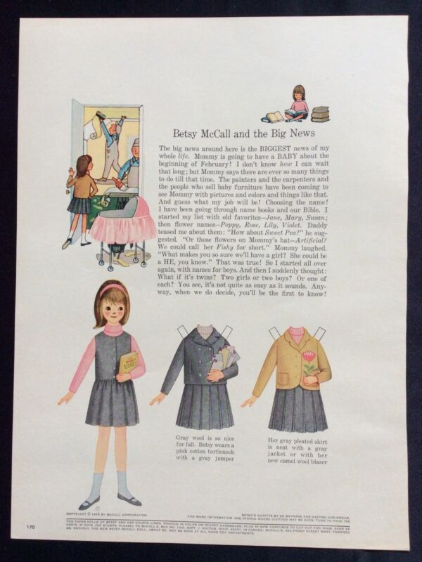 Vintage Betsy McCall Mag. Paper Doll, Betsy McCall and the Big News, Sept. 1965