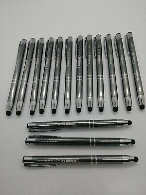 15 Piece Misprint Lot Metal Click Pen Pens Mostly Black Ink Med Point Stylus
