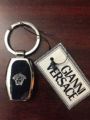 Gianni Versace key ring Medusa White Silver  100% Authentic
