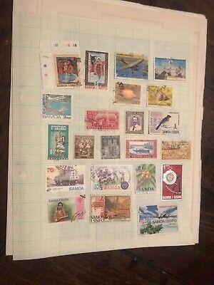 Samoa Page Of Stamps.