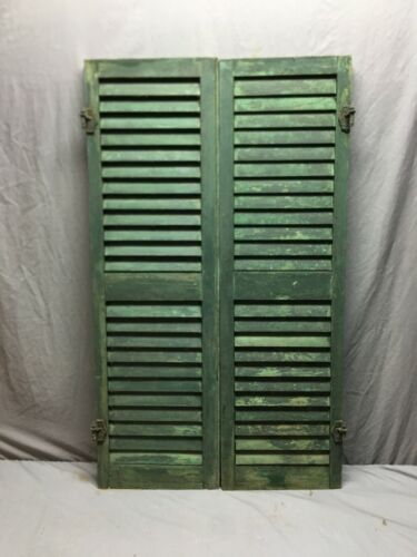 Pair Antique Window Wood Louvered Shutter Shabby Old Chic 14 x 46  Vtg 33-19B