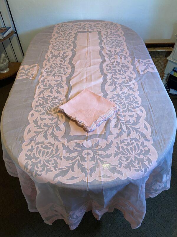 Vtg Pink OrgandyTablecloth Appliqué 106x62~12 Napkins