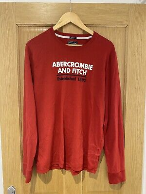 Long Sleeve Red Abercrombie And Fitch T Shirt - Size Large