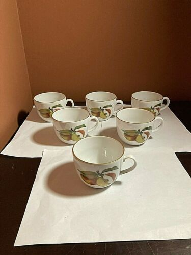 6 Royal Worcester Evesham 8oz Mugs - Gold Rim Coffee Tea Cups - Excellent