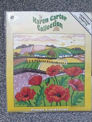 BNIP *Heritage Crafts Karen Carter* Poppy Landscape Field cross stitch kit