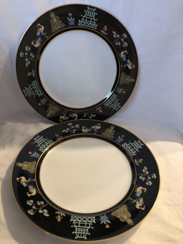 "Vintage Fitz & Floyd CHINOISERIE 10"" Dinner Plates Lot of 2"