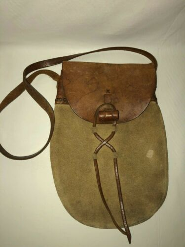 Handcrafted Renaissance Costume Theatre Suede Leather Toggle Flap Shoulder Bag