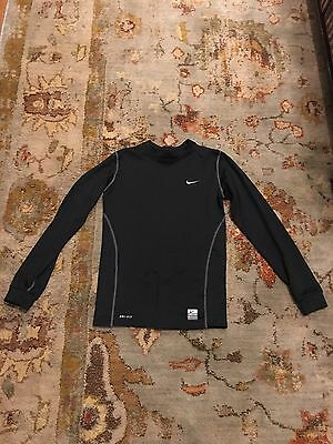 Youth Mock Turtleneck Shirt - NIKE PRO Fitted Shirt COLD GEAR Size YOUTH LARGE Mock TURTLENECK Black