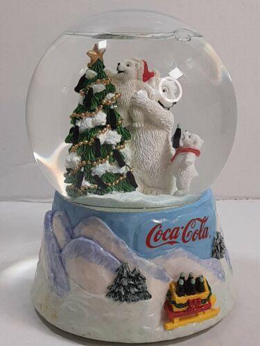 """""""Always Coca Cola"""" Polar Bear Music Snow Globe Collectible """"Enesco"""" 1999"""