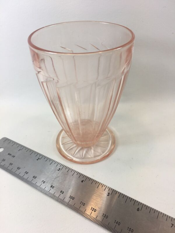 "Sierra 4"" Footed Tumbler Pink Depression Glass"