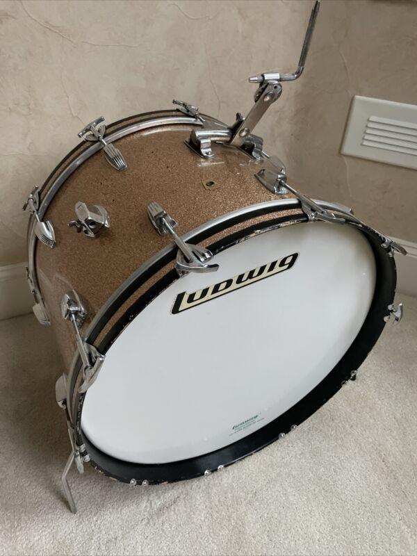 "Vintage 60s Ludwig 14"" x 22"" Rail Mount Keystone Champagne Bass Drum - 3 Ply"
