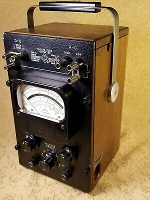 Rare Vtg General Radio Co.vacuum-tube Voltmeter1800-b1956walnut Casev.g.c
