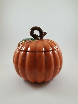 Vintage FTD Ceramic Lidded Cookie Jar Pumpkin Fall decor 7 by 6 inches
