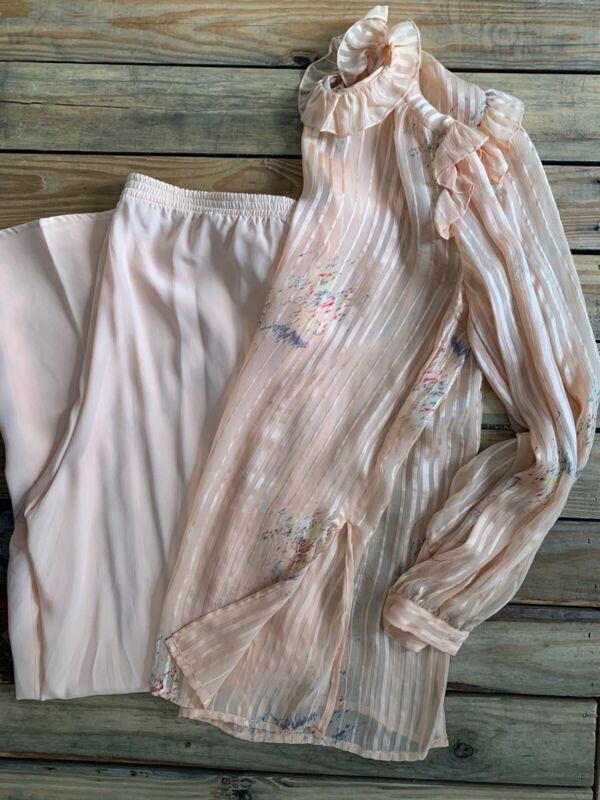 VTG THE SILK FARM Silk 2 Piece Blouse And Pant Set Medium