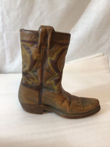 "Western style Cowboy boot ceramic planter or vase, 7"" tall & 7"" long"