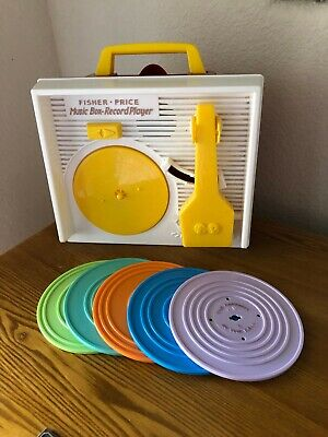 Fisher Price Record Player Music Box 5 Records, 2010 #1697 Mattel, w/ batteries