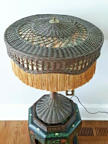 Antique Natural Wicker Table Lamp Fringe Shade Victorian Mission Arts & Crafts