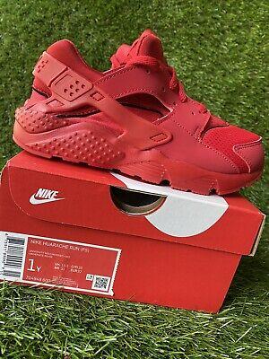 BOYS: Nike Huarache Run Shoes, University Red - Size 1Y 704949-600