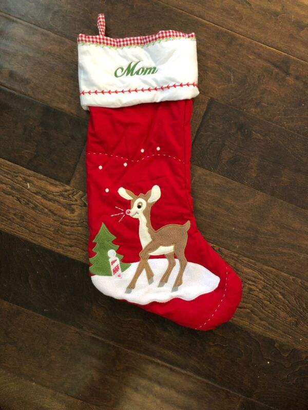 New Pottery Barn Kids Reindeer Rudolph Quilted Red Christmas Stocking Mono Mom*