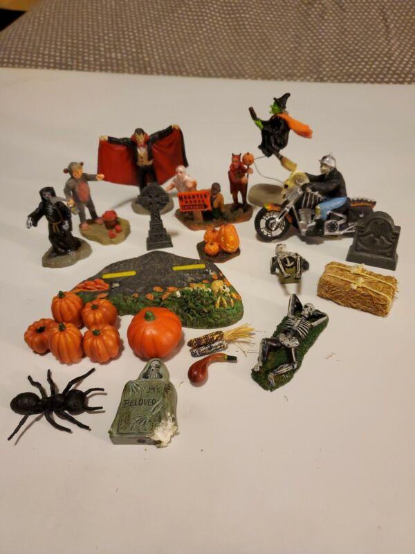 Mini Halloween Ghost Jack O Lantern Witch Skeleton Pumpkin Ornaments  Lot of 23
