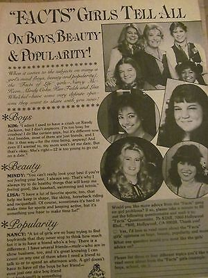 Facts Of Life  Lisa Whelchel  Nancy Mckeon  Full Page Vintage Clipping