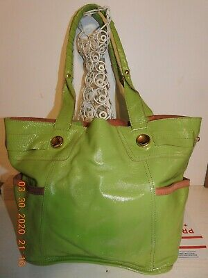B. MAKOWSKY Hobo Bucket Purse Green Patent Soft Leather Large Size Good Conditio