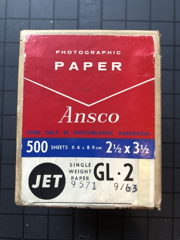 Ansco Photographic Paper, 2 1/2 x 3 1/2in. 500 Sheets, UNOPENED, 1963.