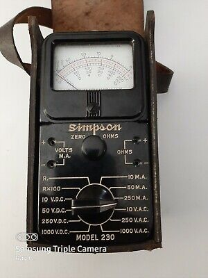 Vintage Simpson Volt Ohm Model 230 With Case And Leads