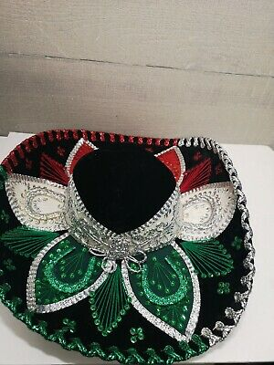 Mexican SALAZAR YEPEZ Mariachi Black White Red Green Sombrero MADE IN MEXICO ](Black And White Sombrero)