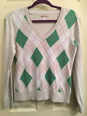 - G.H. Bass & Co Green Beige Pink V Neck Argyle Ribbed Knit Sweater Size Small