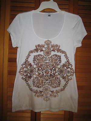 Women's Cache Short Sleeve White Tee Shirt Metal Stud Design Size Medium