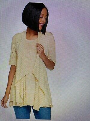 LOGO by Lori Goldstein-2 Pc twin set-Short Sleeved Top w/Ruffle & Striped Vest L Vest Twin Set