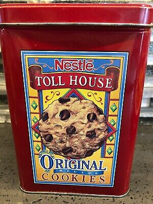 Vintage Nestle Toll House Metal Cookie Tin Homemade Goodness Morsels Semi Sweet