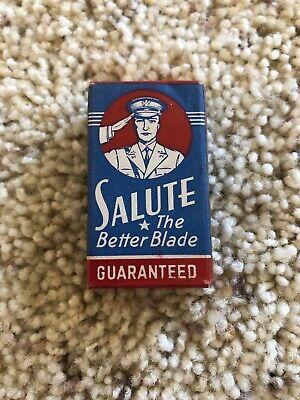 SALUTE The Better Blade 10 Vintage Unused Double Edge Razor Blades in Box