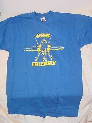 """Vintage F-18 Hornet """"User Friendly"""" T-Shirt Size Large fighter usn navy"""